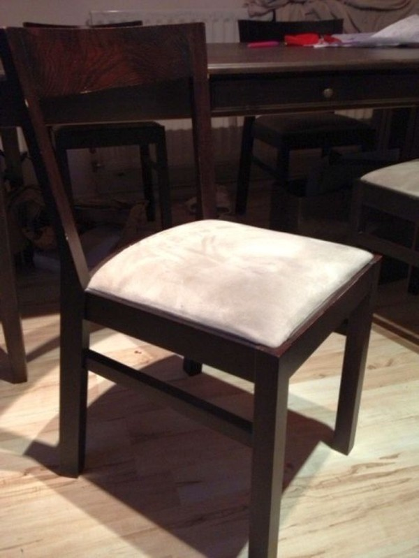 dark wood dining chair cream padded seat