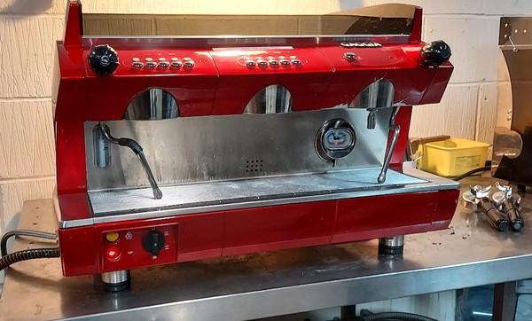 Bright Red Gaggia GD 2-Group automatic espresso machine