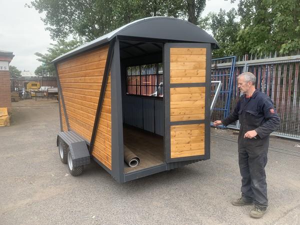 Twin axle shepherds hut burger trailer
