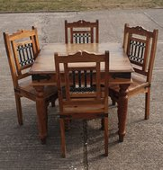 Rustic Java hardwood tables and chairs dining set