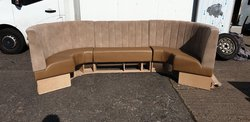 Corner Booth Set in Tan Suede and Leather for sale