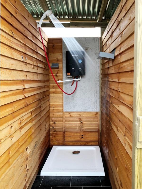 Glamping shower block cubicle
