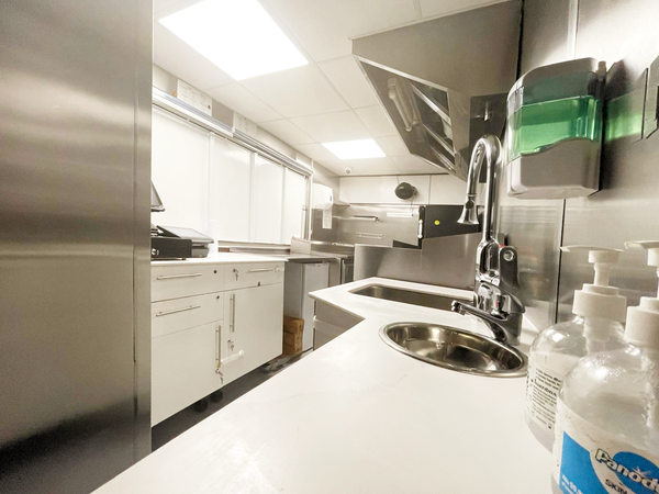 Stainless steel catering truck interior