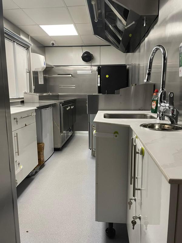 Stainless steel interior of catering van