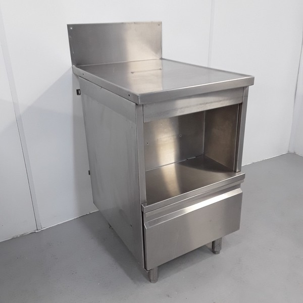 Stainless steel stand and cupboard.