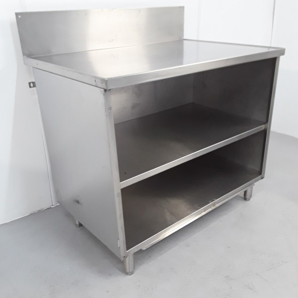 Used stainless steel prep table cabinet