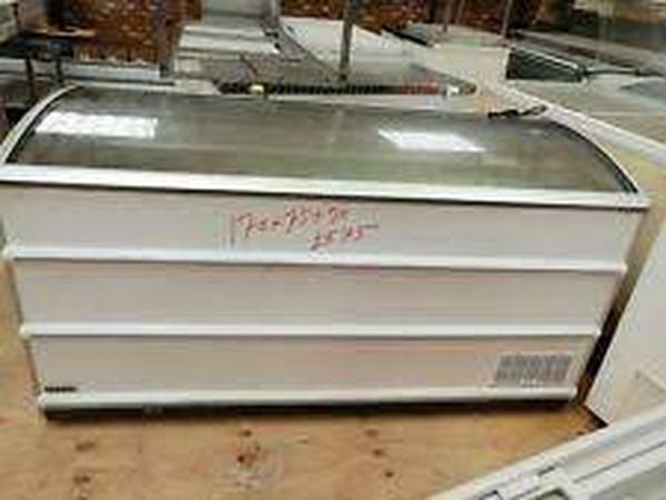 Curved glass lift up lid freezer.