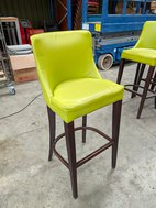 High bar chairs in lime green leather