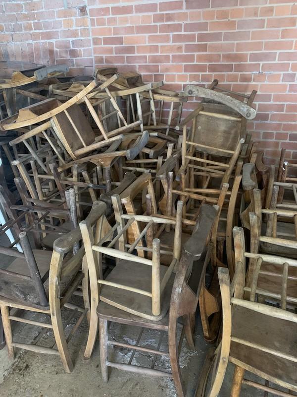 Wood  Vintage Church Chairs