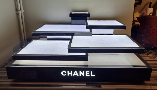 Iconic Black and White Chanel display stand