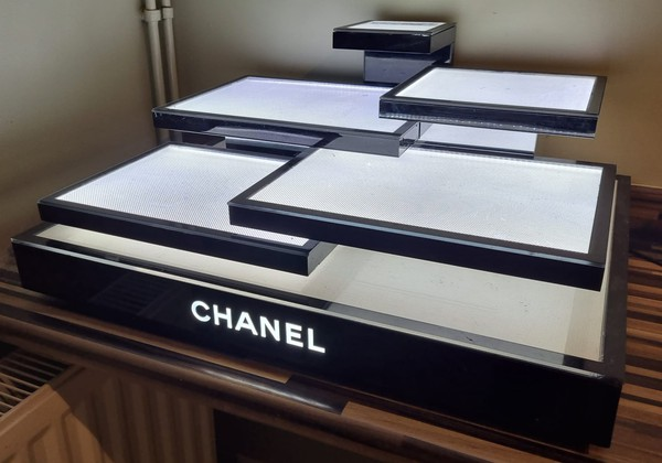 Iconic Black and White illuminated Chanel display stand