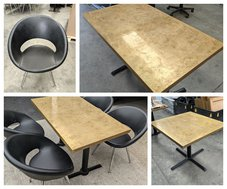 Brass restaurant tables with leather chairs for sale