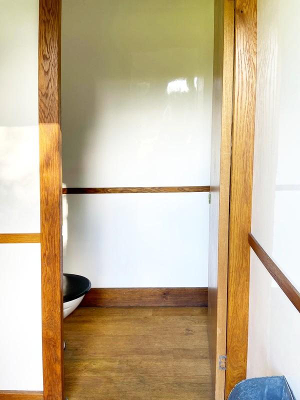 White interior with wood trim