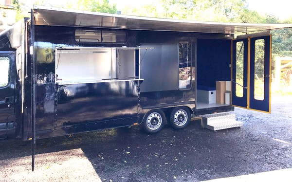 Catering van with seating area