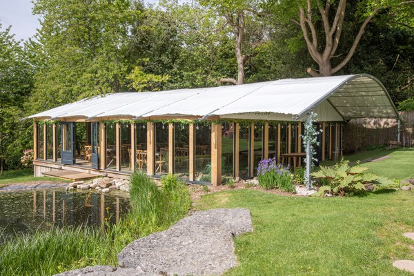 Glass sided marquee with porch