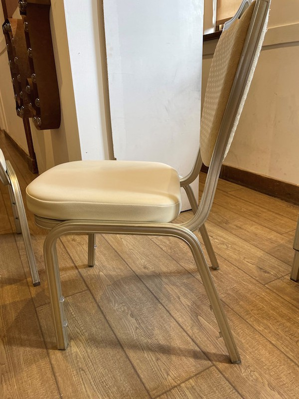 Shield Back Cream Faux Leather Banqueting Chairs