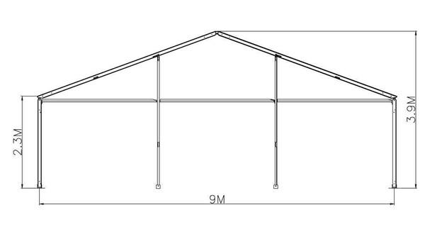 9m Framed marquee Gable plan