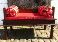 indian bench with removable padding and bolsters