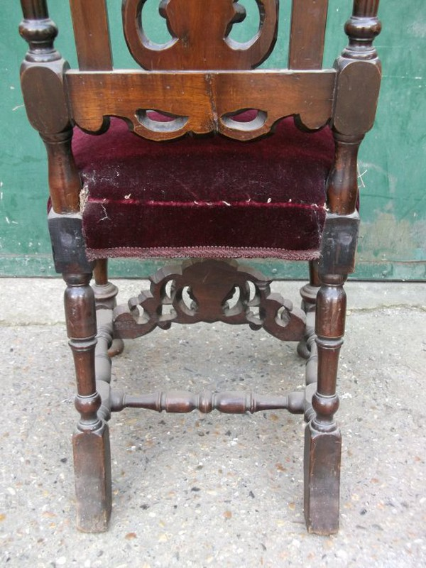 Buy A beautifully carved pair of Carolean chairs.