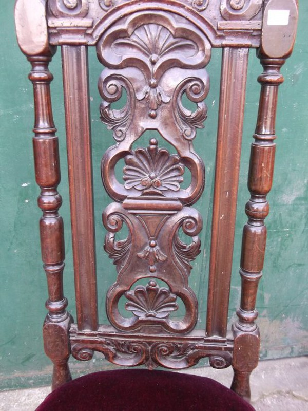 Carolean 18th Century Scallop Carved Chair Set  for sale