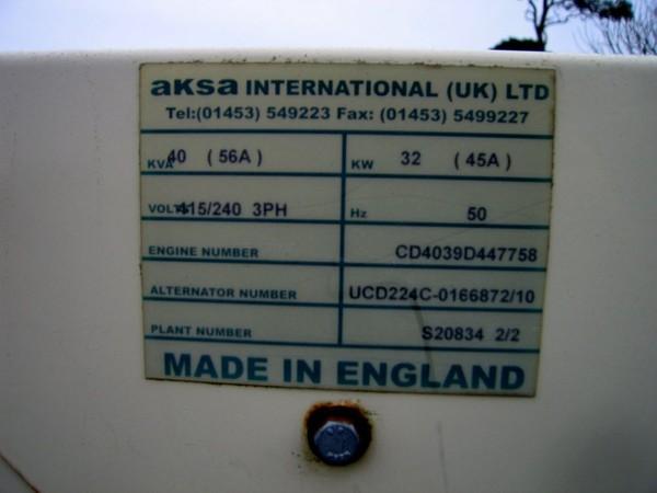 Used 40kva Generator Aksa Trailer Mounted 3 phase Diesel  for sale