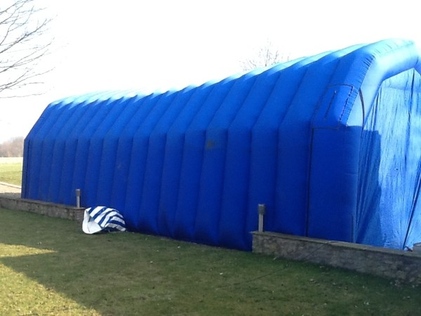 Back of inflatable marquee